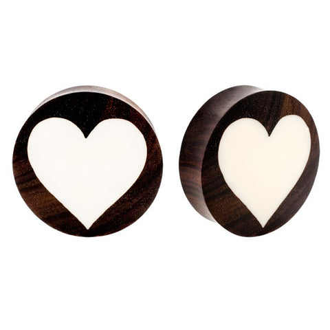 PAIR ORGANIC Sono Wood & Buffalo Bone Double Flared Heart Inlay Ear Plugs Flesh