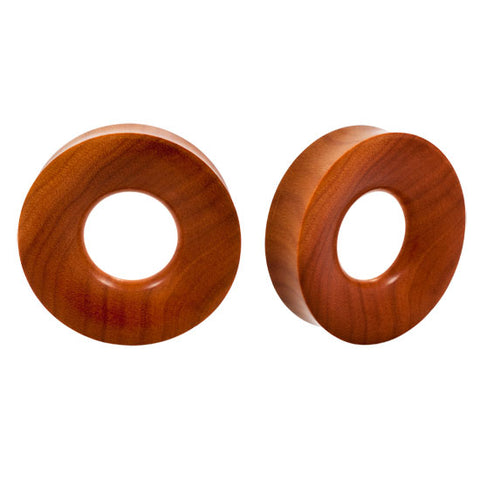 PAIR ORGANIC Light Sawo Wood Double Flared Ear Hollow Flesh Tunnels Inlay Plugs