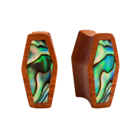 PAIR ORGANIC Areng & Sawo Wood Unique COFFIN Double Flared Abalone Flesh Plugs