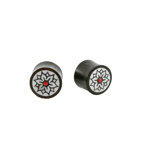 Pair Organic Black Wood Horn Mother Of Pearl Earlet Plug Double Flared PICK SIZE