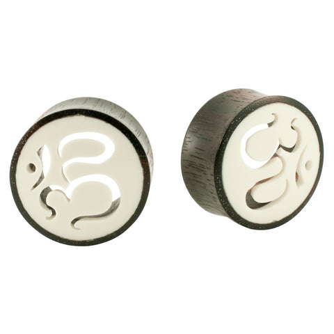 Pair Organic Black Wood Bone OM Cut Out Tunnel Ear Plug Double Flared PICK SIZE