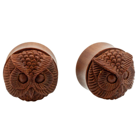 Pair Real Organic Dark Sono Wood Carved Owl Face Double Flare Saddle Plugs
