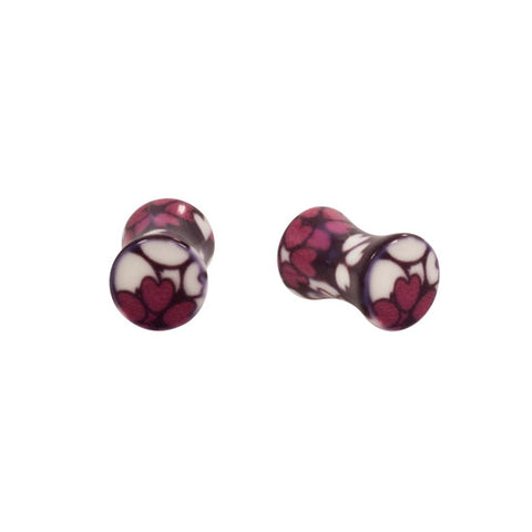PAIR Licensed Playboy Bunny Flower Design Double Flared Ear Inlay Plugs