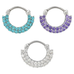 Double Tier Glass Stone Paved Septum Clicker Stainless Steel 16G