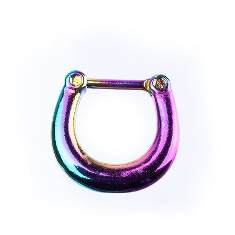 16 Gauge Septum Ring Door Knocker Style with Larger Exterior Diameter in Choice of Color - Piercing Pros