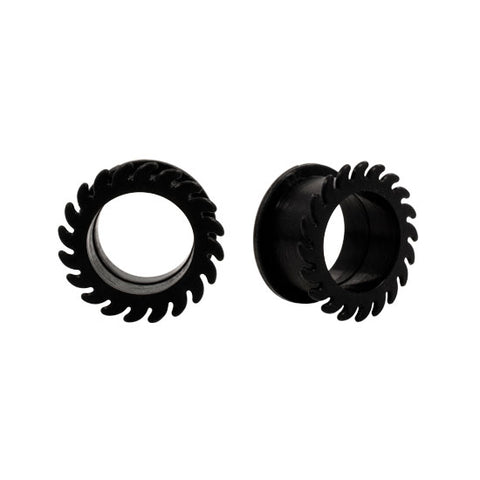 PAIR Saw Blade BLACK Flexible Earlets Silicone Hollow Flared Flexi Plugs