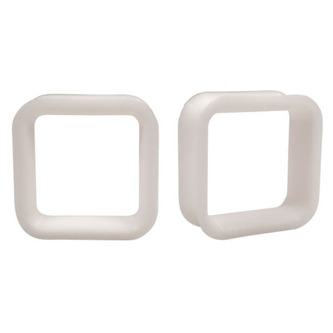 PAIR Square WHITE Flexible Earlets Silicone Hollow Flared Flexi Plugs