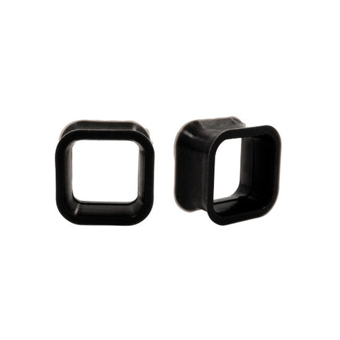 PAIR Square BLACK Flexible Earlets Silicone Hollow Flared Flexi Plugs
