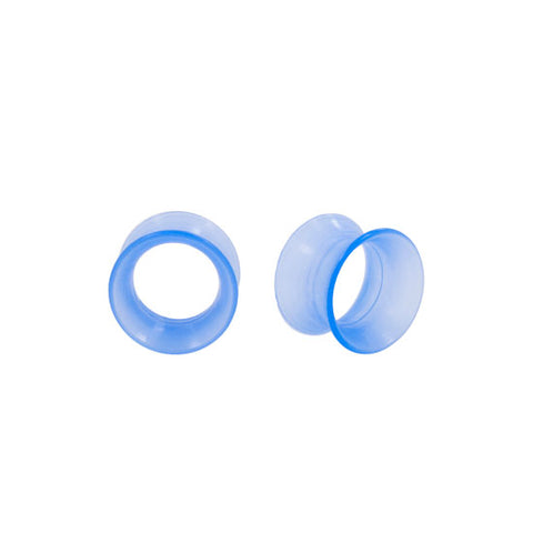 PAIR Earskins - BLUE Flexi Silicone Flared Ear Plugs Hollow Tunnels