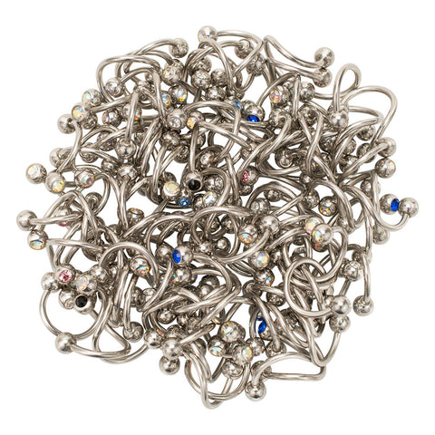 Pack of 100 Double Jeweled Steel Twister Belly Navel Ring 14g