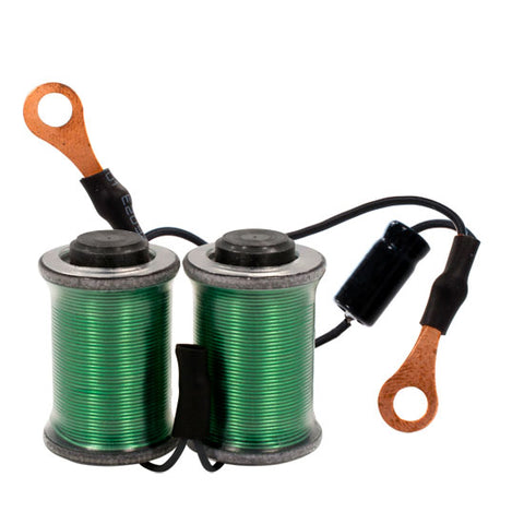 "Ringmaster Irons Hand Wound Knurled 1.25"" Wired Tattoo Coils Pair Green  8 Wrap"