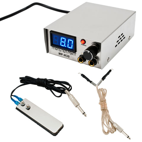 Monster Point Digital 10 Turn Professional Stainless Steel Tattoo Power Supply - Piercing Pros