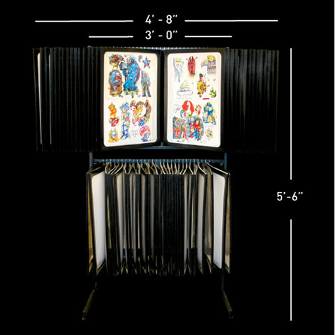 56 Pane Free Standing Tattoo Flash Rack - Holds 224 Sheets
