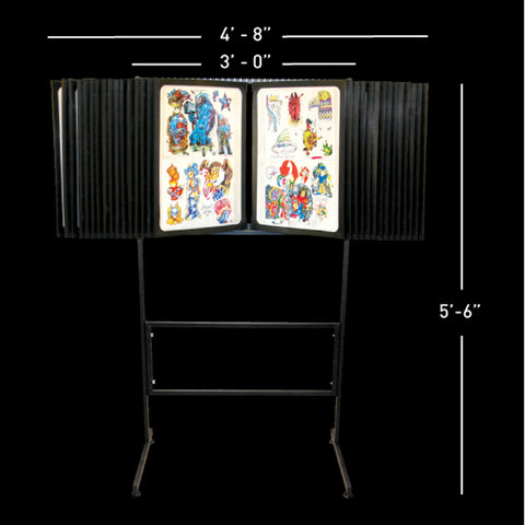 28 Pane Free Standing Tattoo Flash Rack - Holds 112 Sheets