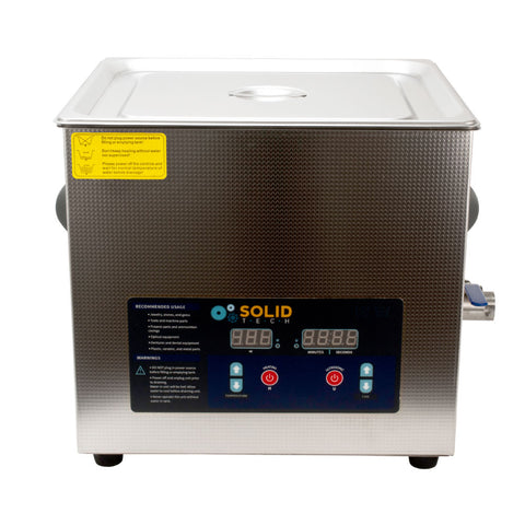 3.4 Gallon Solid Tech 13L Steel Ultrasonic Cleaner w/ Basket Heater Tattoo Grips - Piercing Pros