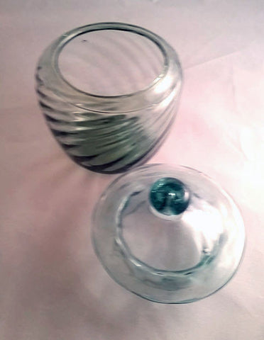 Small Hand Blown Light Blue Tinted Bowl with Lid - The Other Alley