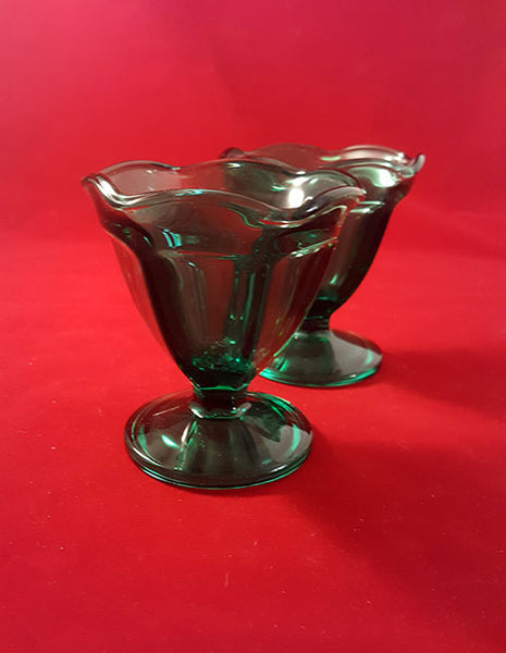 Set of 3 Anchor Hocking Emerald Green Sundae or Parfait Glasses - The Other Alley
