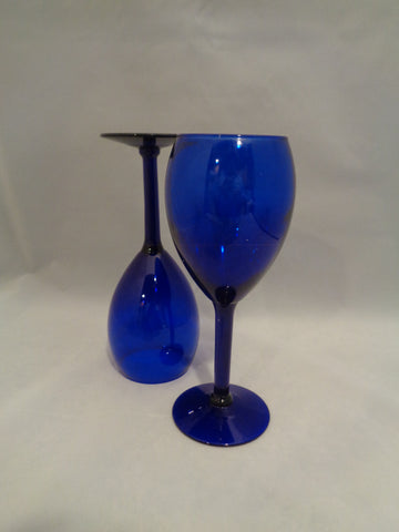 Libbey Cobalt Blue Tear Drop Goblets S/2 - The Other Alley