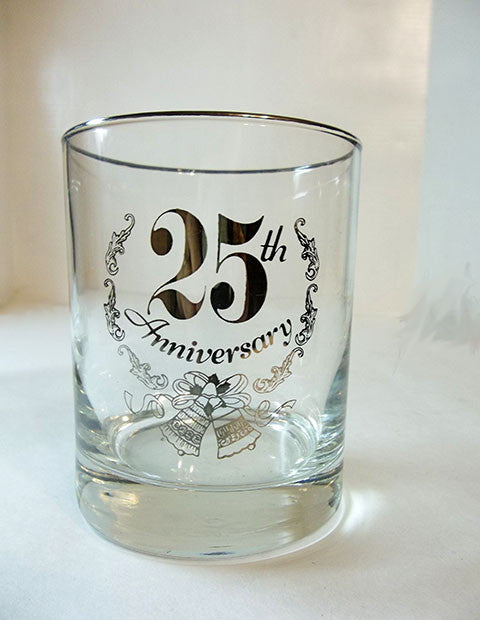 Silver 25th Anniversary Glasses - The Other Alley