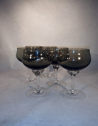 Sasaki Twisted Stem Smoke / Translucent Black Cordial Glasses  S/6