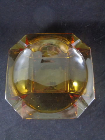Amber Art Deco Glass Ashtray