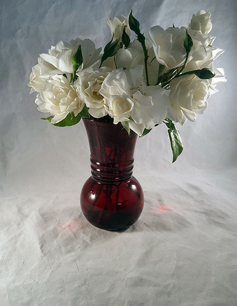 Ruby Red Vintage Anchor Hocking Vase - The Other Alley