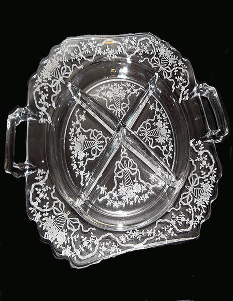 Etched Glass Relish Plate...FREE SHIPPING - The Other Alley
