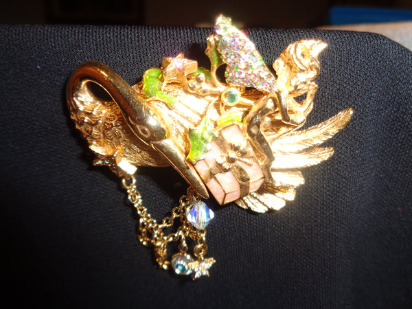 Vintage Flamingo And Angel Brooch