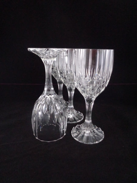 Lead Crystal Goblets Faceted Stem  S/4 - The Other Alley