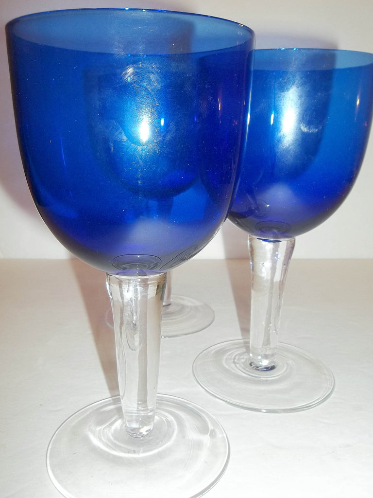 Cobalt Blue Goblets with Clear Stems S/3 - The Other Alley