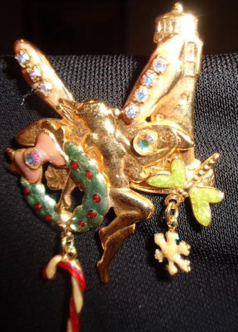 Gold Angel And Dragonfly Gold Brooch