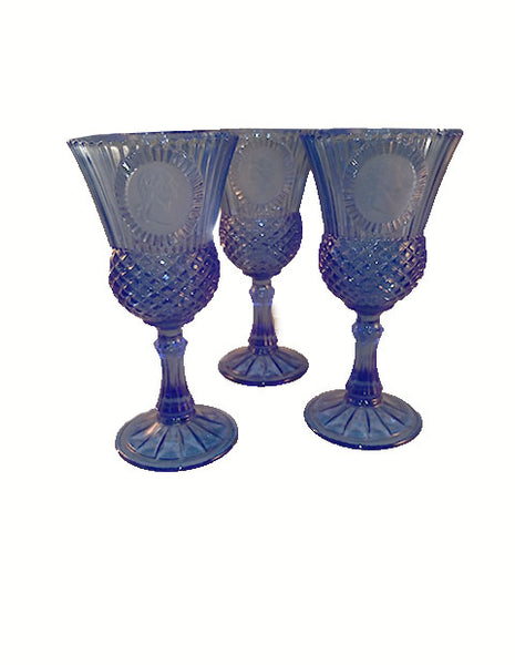 Fostoria Avon Cobalt Blue George Washington Cameo Ribbed Goblet - The Other Alley