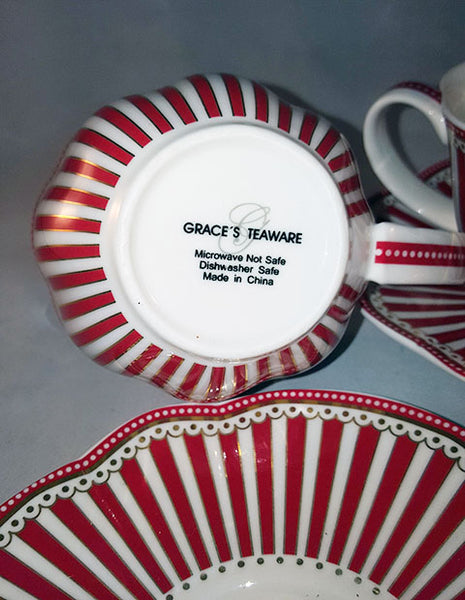 Grace's Teaware Josephine Red Cup and Saucer - The Other Alley