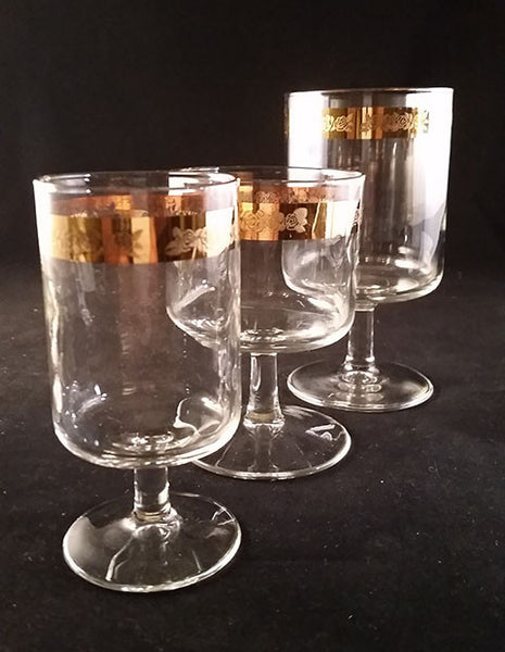 Stemware with Elegant Gold Band Embossed Roses  S/7 - The Other Alley