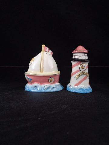 Twilight Cove Sailboat & Lighthouse Salt Pepper Shakers