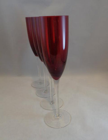 Ruby Red Champagne Flutes Clear Stem  S/4