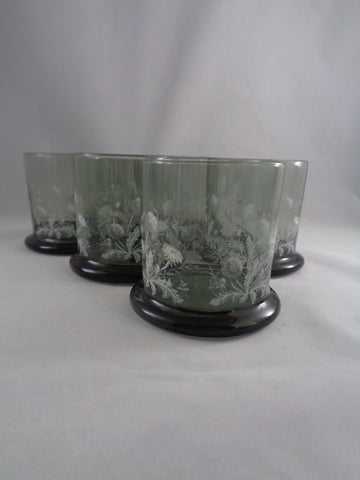 Smoked Gray Rocks Tumblers With White Flowers/Leaves  S/6