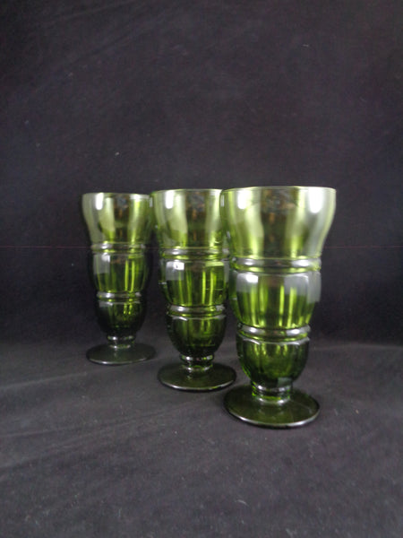 Green Indiana Parfait/Sundae Glasses  S/3 - The Other Alley
