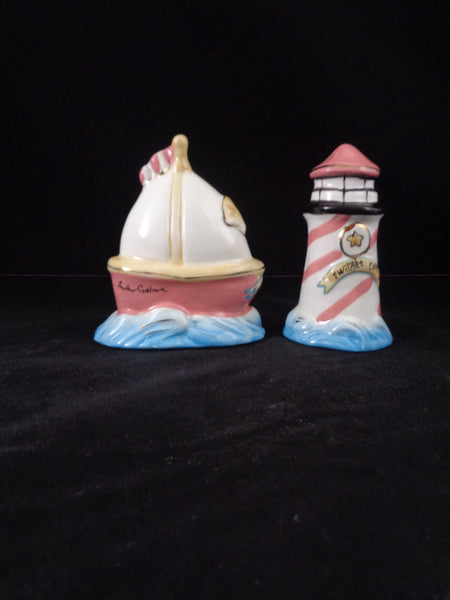 Twilight Cove Sailboat & Lighthouse Salt Pepper Shakers - The Other Alley