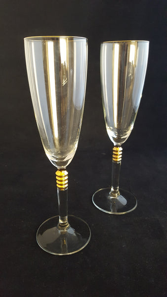 Crystal Flutes with Gold Knots/Faceted Stems  S/2 - The Other Alley