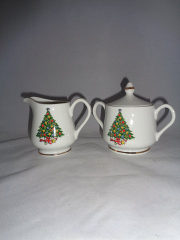 Christmas Tree Creamer And Sugar Set