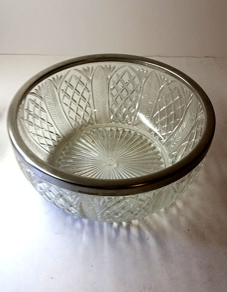 Pressed Glass Bowl with Silver Plated Rim - The Other Alley