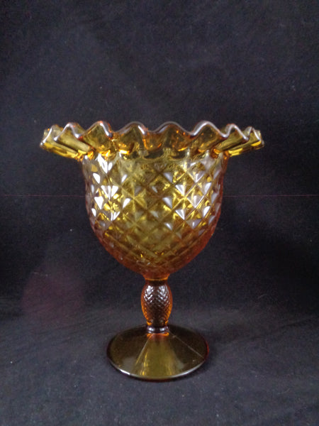 Amber Pedestal Compote Bowl With Lid