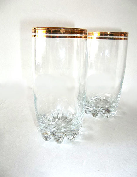Gold Rimmed Glasses with Ribbed Bottom S/2 - The Other Alley