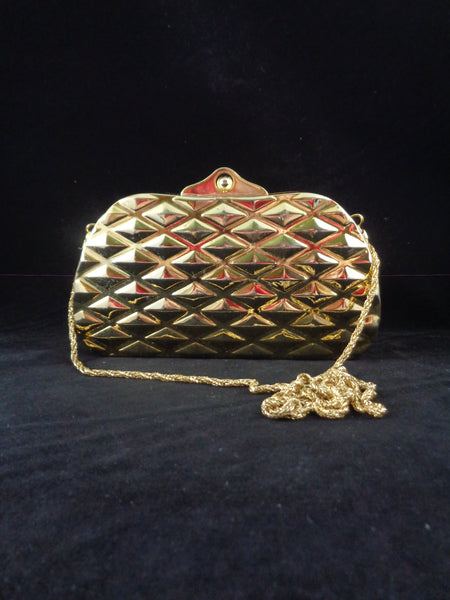 Vintage Gold Tone Plated Clutch Bag