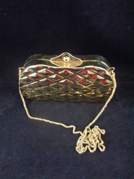 Vintage Gold Tone Plated Clutch Bag - The Other Alley