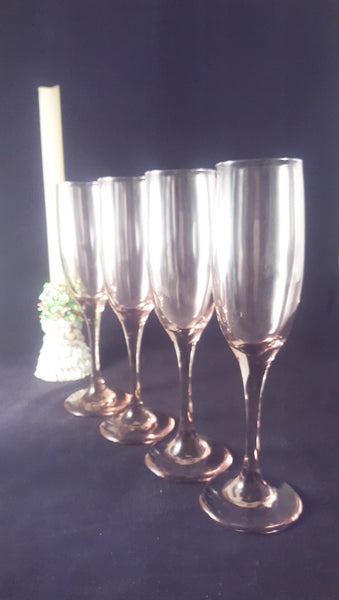 Set of 4 Libbey Lilac / Pink Flutes - The Other Alley