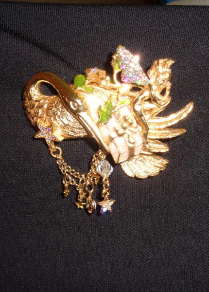 Vintage Flamingo And Angel Brooch - The Other Alley