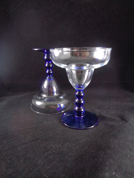 Cobalt Blue Ball Stem Margarita Glasses  S/5