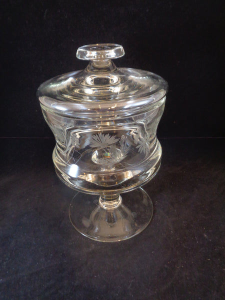 Crystal Etched Pedestal Compote Bowl With Lid - The Other Alley